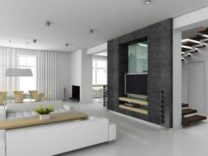 Modern interior. 3D render. Living-room